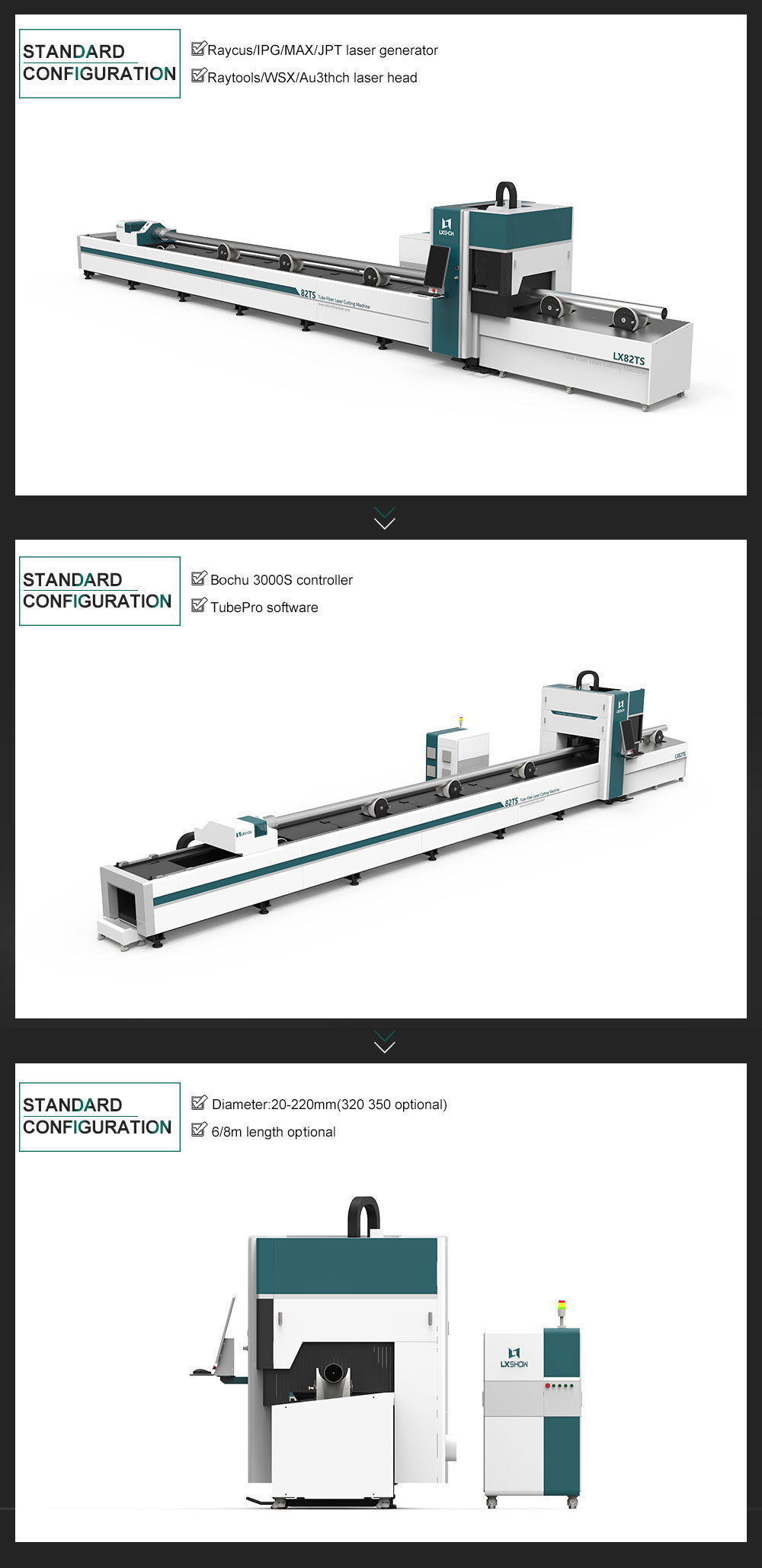 product-LX82TS Round Square tube ss cs aluminum metal pipe tube fiber laser cutter 1KW 15KW 2KW 3KW
